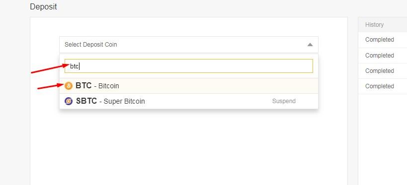 deposit bitcoin binance