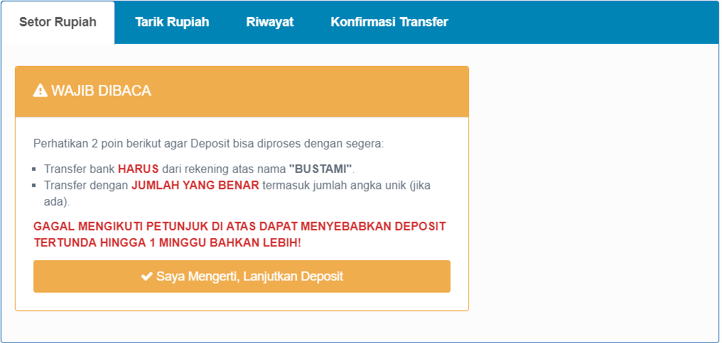 deposit dan withdraw di indodax