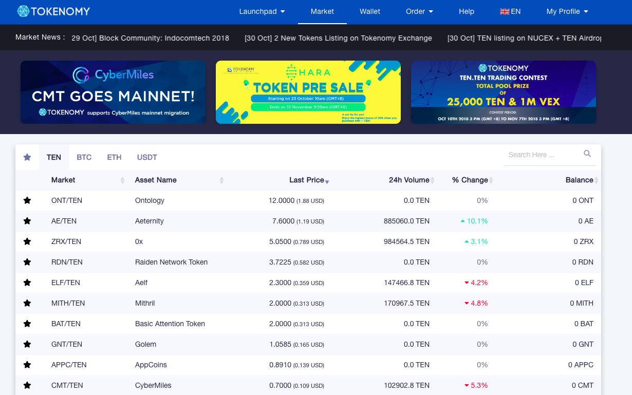 tampilan baru tokenomy exchange