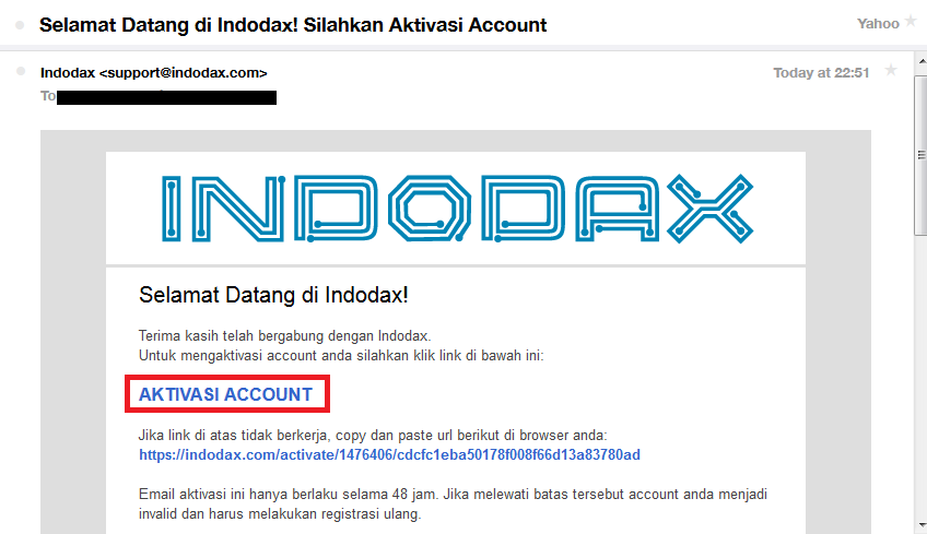 aktivasi akun indodax